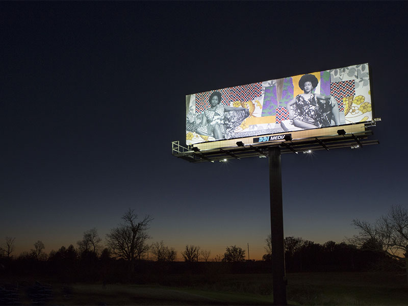 Michalene Thomas billboard I70signshow dusk 01