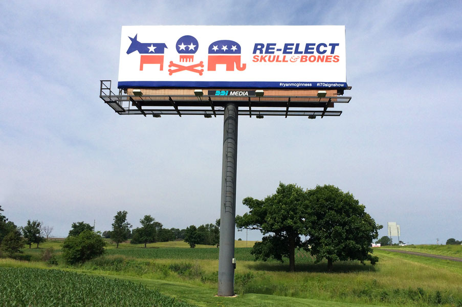 McGinness Re-elect Skull and Bones billboard front view