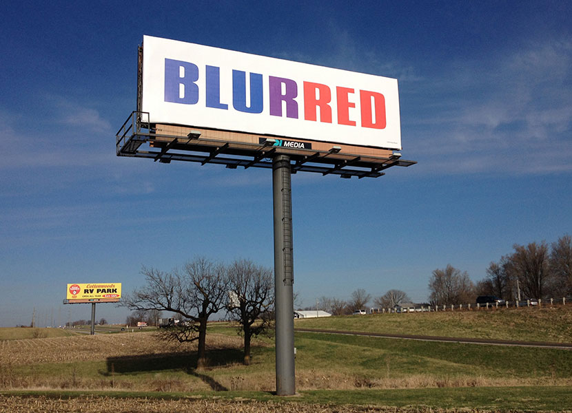 "Rosen ""Blurred"" on main billboard of I70signshow"